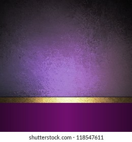 abstract purple background black design with vintage grunge background texture purple paper wallpaper for brochure or website background, elegant luxury gold ribbon side bar banner for web template