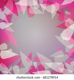 Abstract purple background with pink leaves. illustration