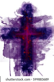 Abstract purple cross. Artistic watercolor style digital illustration for Lent and passion of Jesus Christ.