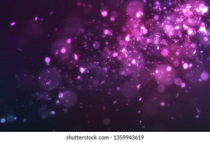 Abstract purple glitter light and bokeh falling on dark background
