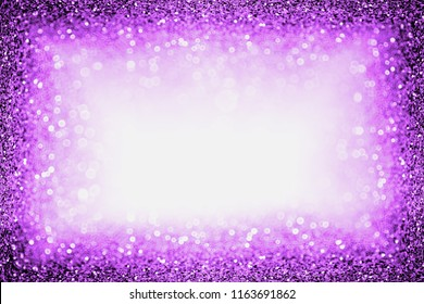 Abstract purple glitter sparkle confetti background for happy birthday party invite, Spooky Halloween trick treat frame, mardi gras, ladies night dance, masquerade carnival or Christmas glam border
