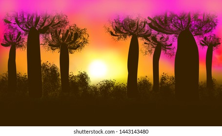 Abstract purple sunset over the baobab trees in the Savannah.