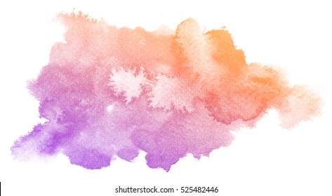 Abstract purple watercolor on white background.The color splashing on the paper.It is a hand drawn.