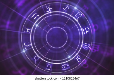Abstract purple zodiac wheel background. Cyberspace concept. 3D Rendering