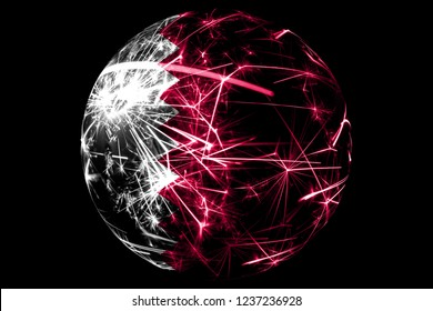 Abstract Qatar sparkling flag, Christmas ball holiday concept isolated on black background
