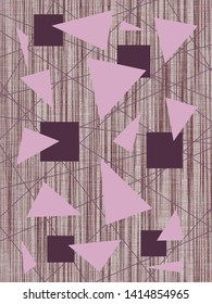 Abstract quadrangles, triangles and straight lines in plum and pastel purple on a textured background in ash pink and other shades.