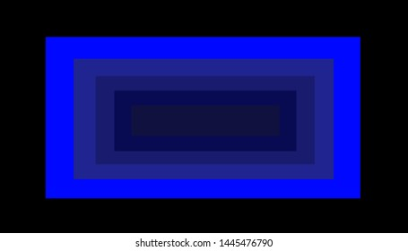 Abstract quadrilaterals of different sizes in blue, grayish blue and other shades on a black background.