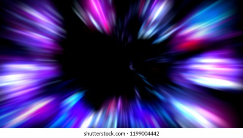 Сolorful abstract  radiant flash. Explosion hyper acceleration race for speed in futuristic outer space.