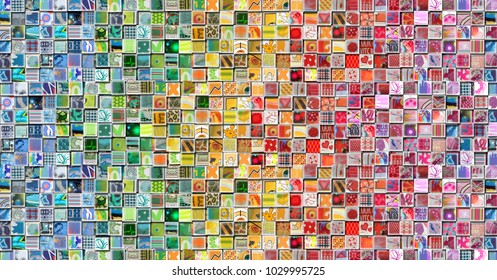 Abstract Rainbow Background made with Small illustrations
