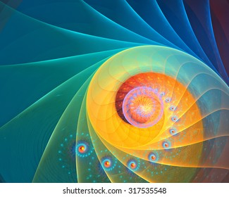 Abstract rainbow, blue and yellow spiral background fractal with fine microstructure