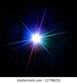 abstract rainbow colored rays light like star over black background