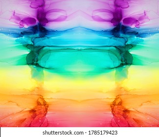 Abstract rainbow colorful background, wallpaper. Mixing acrylic paints. Modern art. Alcohol ink colors translucent. Alcohol Abstract contemporary art fluid.