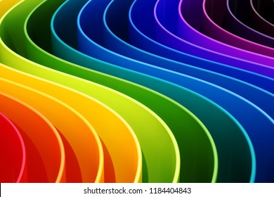 Abstract rainbow colors curves background. 3D rendering