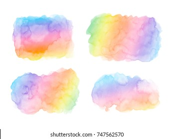 Abstract Rainbow colors watercolor paint stains backgrounds set