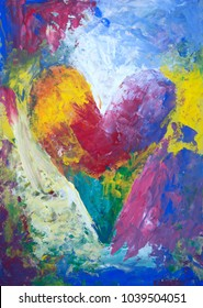 Abstract rainbow heart acrylic painting