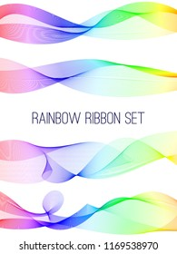 Abstract rainbow ribbon set. Colorful design on white isolated background.