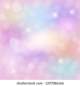 Abstract Rainbow sky fantasy background with glittering stars.  Illustration