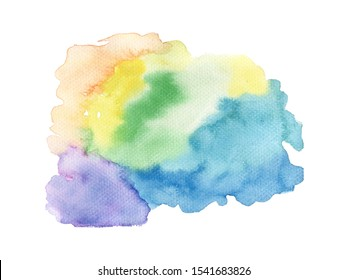 Abstract rainbow sky wet watercolor on white background hand draw for invitation card fabric texture
