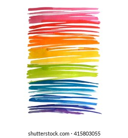 Abstract rainbow watercolor scribbles