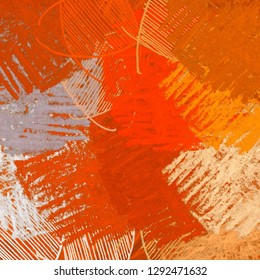 Abstract random shapes. 2d illustration backdrop. Artistic modern art patterns on flat concrete wall. Painted rough surface. Handmade brush strokes. Mixed patterns.