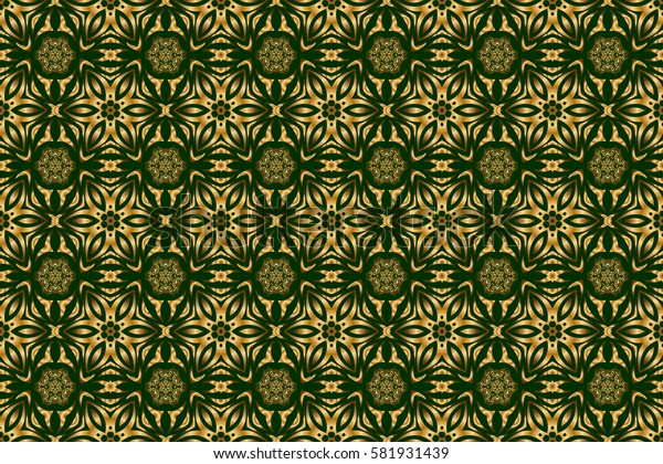 Abstract raster bright golden design for wallpaper, Christmas decoration, confetti, textile, wrapping. Symbol of holiday. Stars seamless pattern gold and green retro background.