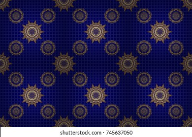 Abstract raster dynamic rippled surface, illusion of movement, curvature on a blue background. Golden seamless pattern for prints or digital.