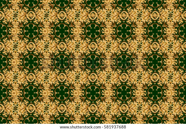 Abstract raster dynamic rippled surface, illusion of movement, curvature on a green background. Golden seamless pattern for prints or digital.