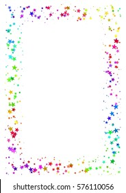 Abstract rectangle frame made of colorful stars isolated on white background, A4 paper with rainbow colored starry border, Multicolor illustration