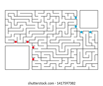 Abstract rectangular maze. Game for kids. Puzzle for children. Labyrinth conundrum. Flat  illustration. With place for your image