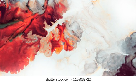 Abstract red background. Macro cells. Red flower. Acrylic paints. Marble texture. Contemporary art.