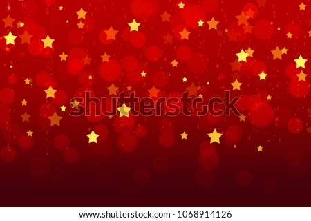 Abstract Red Background Wallpaper Color Gradient Blurred Bokeh Graphic With Shiny Golden Stars