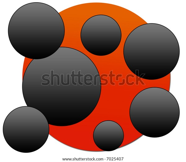 abstract red and black circles