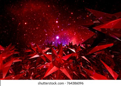 Abstract red crystal science fiction space background. 3D render.