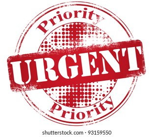 Abstract red grunge office stamp with  word urgent and priority