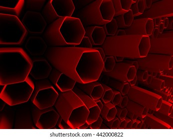 Abstract Red Hexagon Pattern Tubes Background. 3d Render Illustration