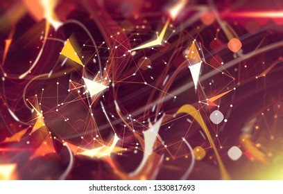 Abstract red illustration. Artistic background with triangles and mosaic.