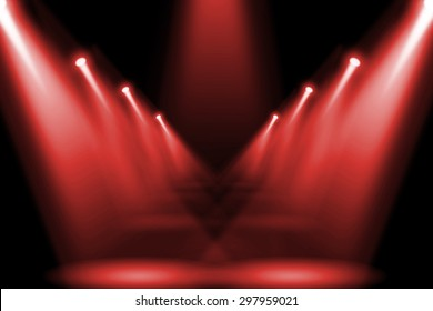 Abstract red lighting flare on the floor center stage.