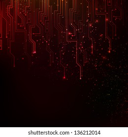 Abstract red lights background.  Illustration.