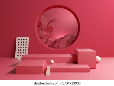 Abstract Red Pink blank display products with tropic background, 3d illustration