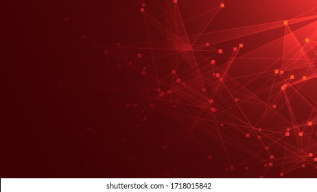 Abstract red polygon tech network with connect technology background. Abstract dots and lines texture background. 3d rendering.