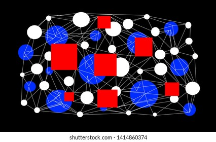 Abstract red quadrilaterals, white and blue circles in a grid of intersecting white fine lines on a black background.
