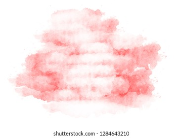 Abstract red watercolor on a white background, color splashed in paper. It is a hand-painted illustration.