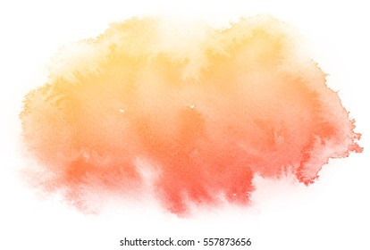 Abstract red watercolor on white background.The color splashing on the paper.It is a hand drawn.