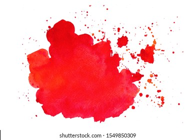 Abstract red watercolor textured background on white isolated background