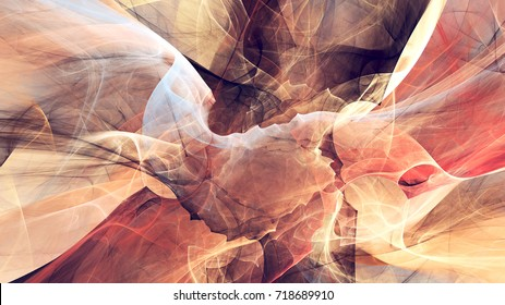 Abstract red and white motion composition. Fantastic smoke in bright colors. Modern futuristic background with lighting effect. Fractal artwork for creative graphic design