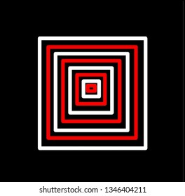 Abstract red and white quadrilaterals of different sizes on a black background.