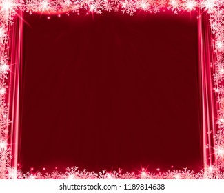 Abstract red winter background silk curtains, snowflakes and glittering. Backdrop for poster, web design, print.