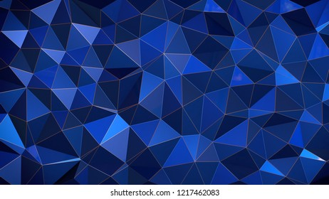 Abstract Reflected Blue Voronoi wall - High resolution 3d render