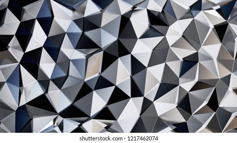 Abstract Reflected Glass Voronoi wall - High resolution 3d render
