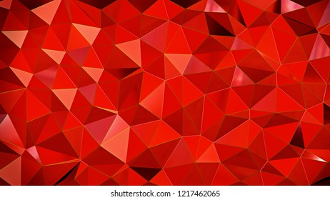 Abstract Reflected Red Voronoi wall - High resolution 3d render